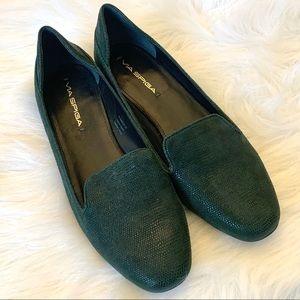 Via Spiga Green Leather Loafer Flats